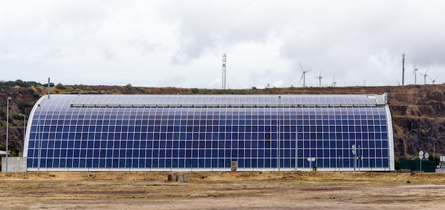 Solar panels on the roof of garage barn. portugal