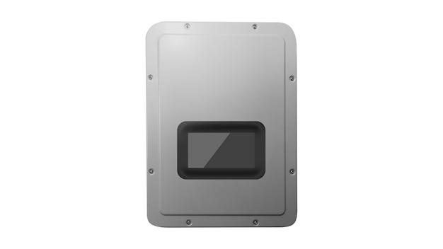 Солнечный фотоэлектрический инверсор в 3d на белом фоне. место для текста