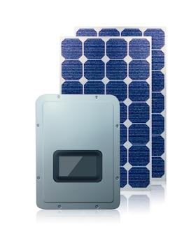 Солнечные фотоэлектрические панели и инвертор 3d, изолированные на белом фоне. место для текста
