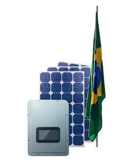 Солнечные фотоэлектрические панели, инверсор и флаг бразилии, изолированные на белом фоне. место для текста
