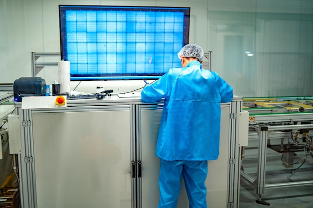 Solar power panel. green energy. electricity. power energy pannels. engeneer on a solar plant. laboratory room.
