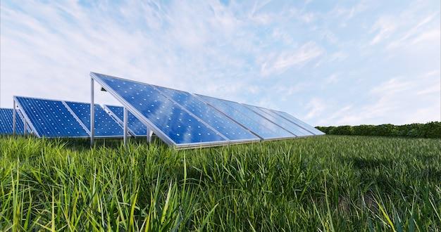 空の背景に太陽光発電パネル、3dレンダリング