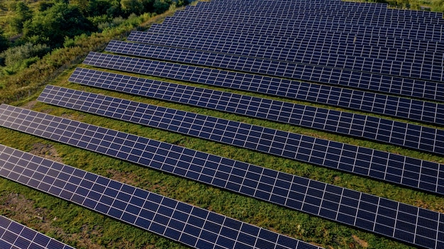 Solar power station in green field on sunny day. aerial view. solar panels stands in a row