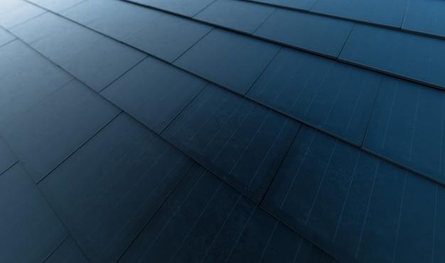 태양 지붕 개념입니다. 현대식 단결정 검은색 태양광 지붕 타일로 구성된 건물 통합형 태양광 발전 시스템. 3d 렌더링.