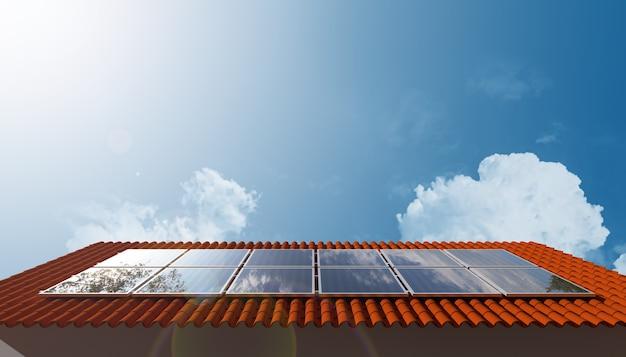 Солнечная энергия на крыше зеленой энергии. 3d иллюстрации.