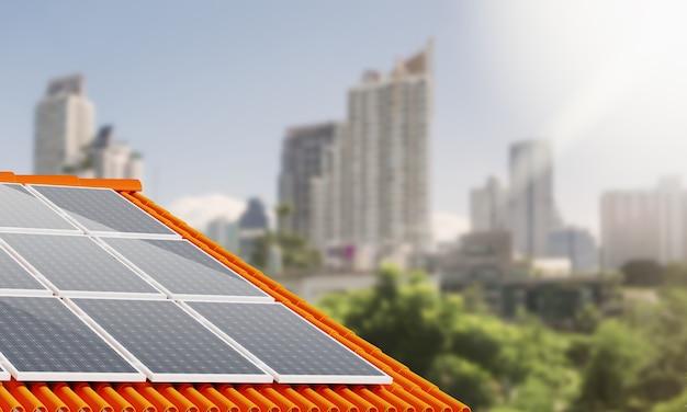 Green energy의 태양열 옥상 전력. 3d 그림입니다.