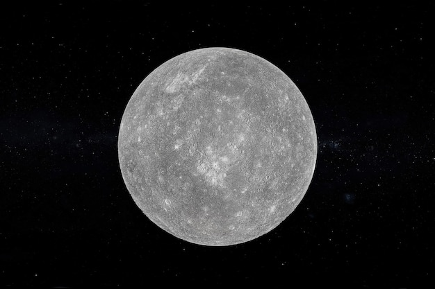Solar system concept. view of full big planet mercury from space on a black sky background. elements of this image furnished by nasa. 3d rendering