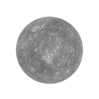 Solar system concept. view of full big planet mercury from space on a white background. elements of this image furnished by nasa. 3d rendering