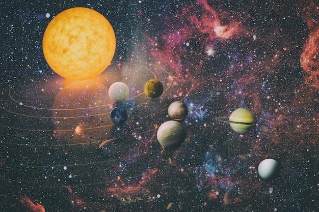 Планета солнечной системы, комета, солнце и звезда. солнце, меркурий, венера, планета земля, марс, юпитер, сатурн, уран, нептун. элементы этого изображения предоставлены наса.
