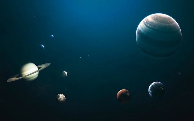 Планеты солнечной системы, земля, марс, юпитер и другие. потрясающая детальная визуализация. элементы этого изображения, предоставленные наса