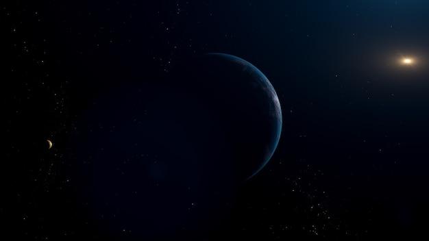 青い太陽系外惑星と太陽系外衛星を備えた太陽系