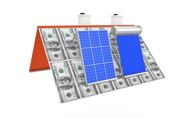 흰색 바탕에 달러 지폐 지붕에 설치된 태양열 온수기와 태양 전지판. 3d 렌더링