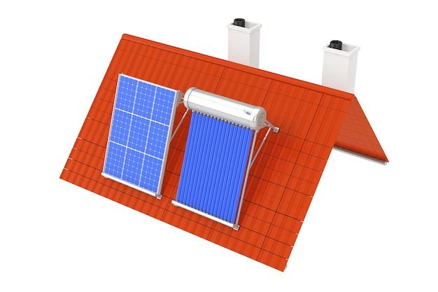 Солнечный водонагреватель и солнечная панель, установленные на красной крыше на белом фоне. 3d рендеринг