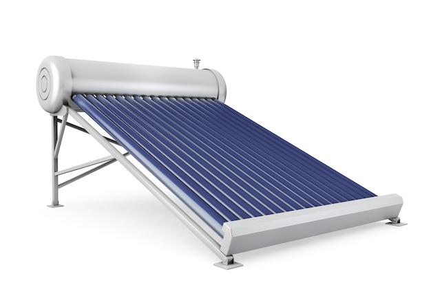 Панели солнечных водонагревателей на белом фоне