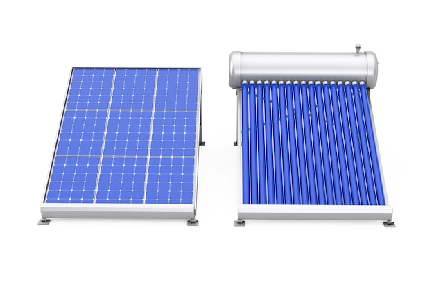 Solar water heater with solar panel on a white background. 3d rendering.