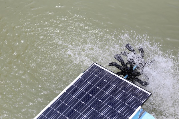 Solar water turbine in the pond.