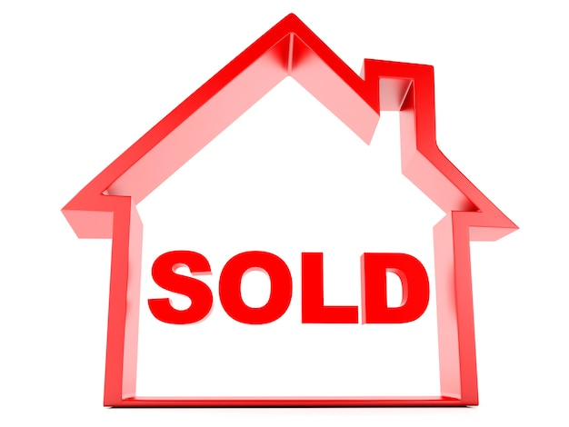 Sold house on white background
