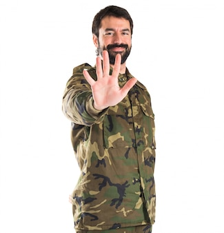 Soldier counting five