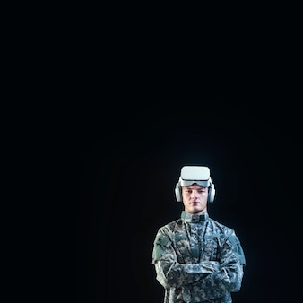 Soldier in vr headset for simulation training military technology black