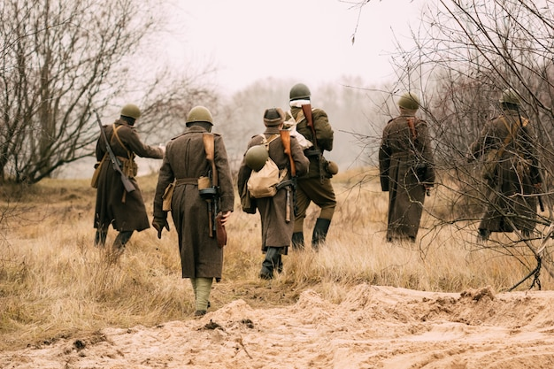Soldiers of the red army in the field