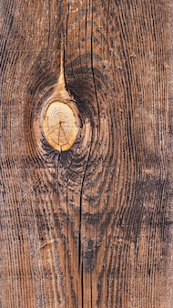 매듭 표시와 밝은 색상의 곡물이있는 짙은 갈색의 단단한 나무 판자