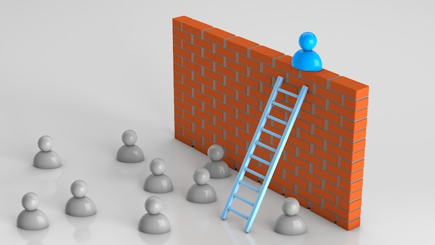 Solutions to business problems the businessman climbed the stairs to the brick wall successful way