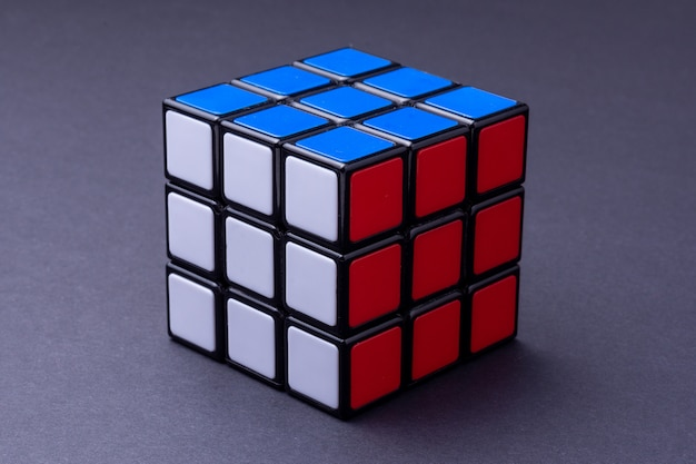 Solved rubik's cube on black