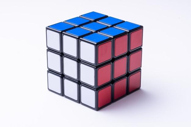 Solved rubik's cube on black