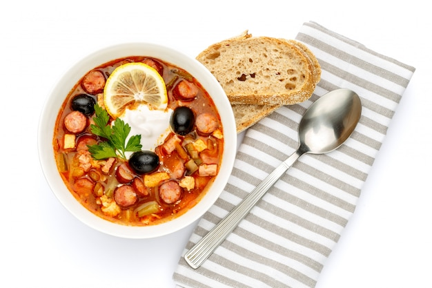Solyanka - russian traditional meat soup