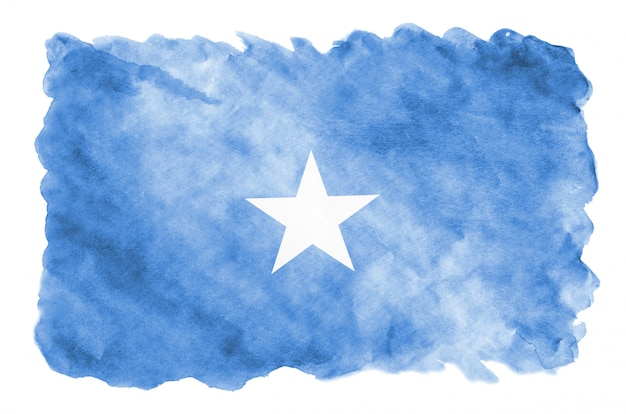 Somalia flag is depicted in liquid watercolor style isolated