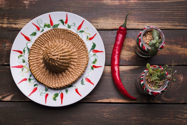 Sombrero on plate near plants in flowerpots and chili