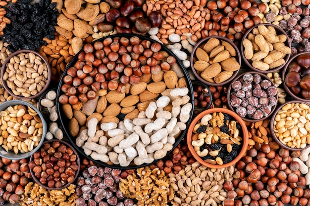 Alcune noci assortite e frutta secca con noci pecan, pistacchi, mandorle, arachidi, anacardi, pinoli in diverse ciotole e piatto nero distesi.