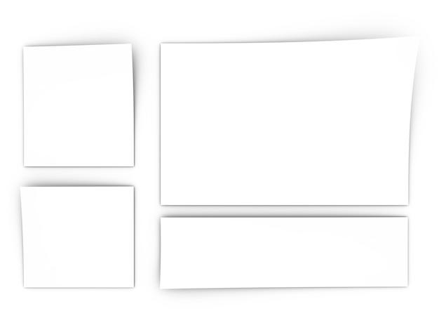 いくつかの空白の紙。 3dレンダリングされたイラスト。白で隔離されます。