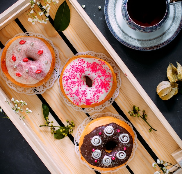 Some donuts with various topping