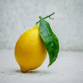 Some lemon with its leaf on white textured background, side view.