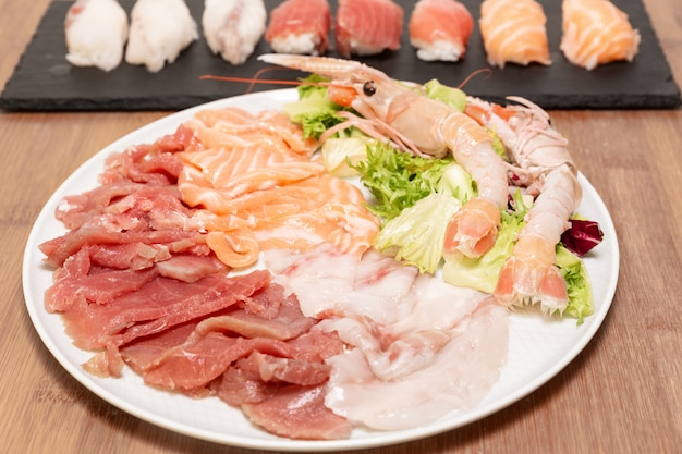 Some of the most important and popular ingredients for the preparation of sushi and sushimi.