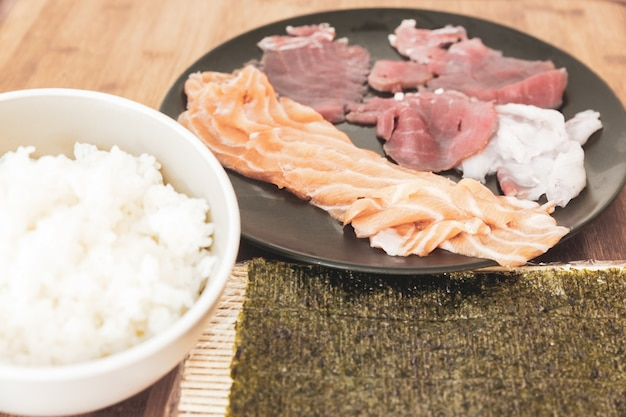 Some of the most important and popular ingredients for the preparation of sushi.