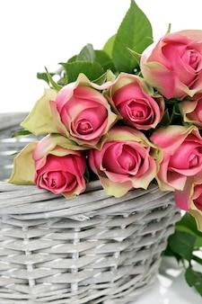 白い背景の上のバスケットのいくつかのピンクのバラ