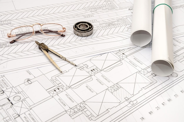Some technical drawing, machine parts.
