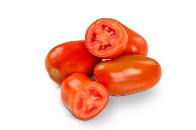 Some tomatoes over a white isolated. fresh vegetable.