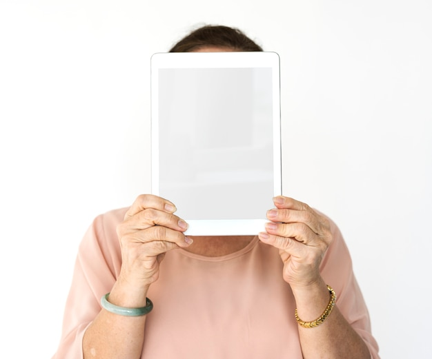 Someone holding a tablet