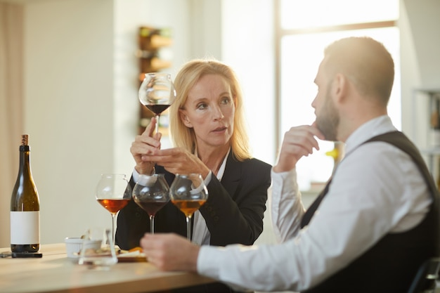 Sommeliers at wine tasting session