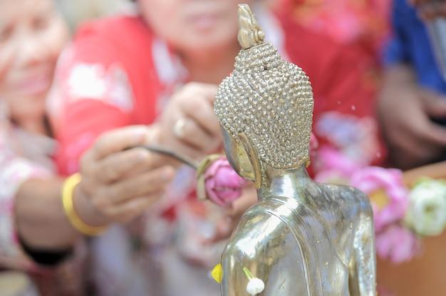 Songkarn with monk