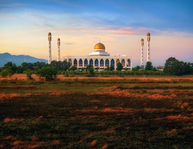 Центральная мечеть сонгкхла с отражением воды к югу от таиланда