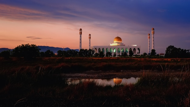 Songkhla central mosque with water reflection south of thailand