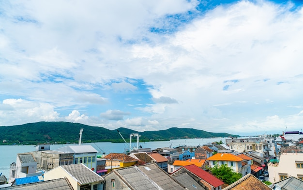 Songkla city view withblue sky and bay in thailand