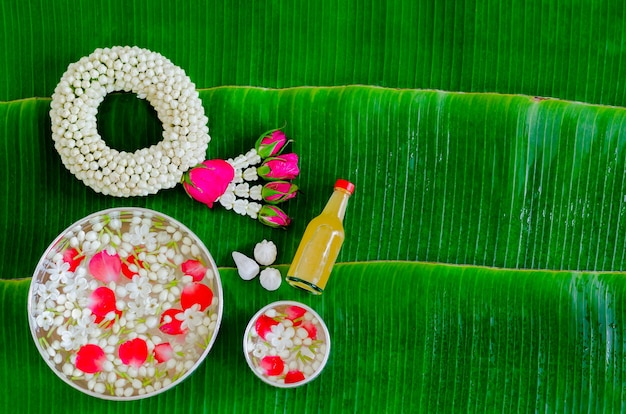 Songkran festival background on wet banana leaf background.