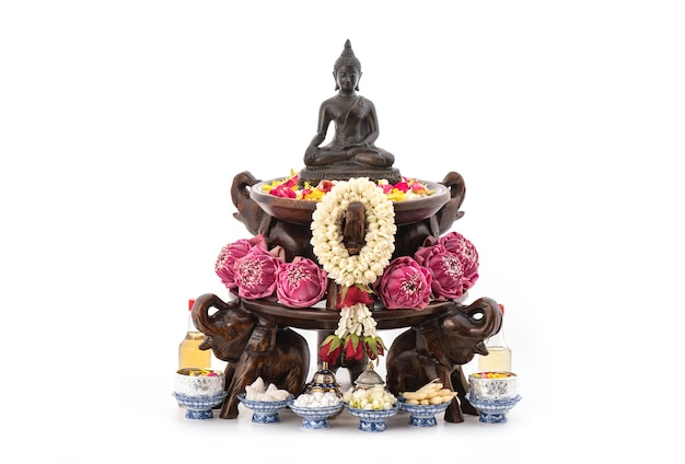Songkran festival then they bath or pour water on buddha images with thai scented water.