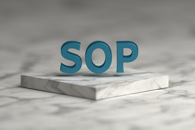 Sop standard operating procedure word with blue shiny metallic texture over pedestal podium made of marble.