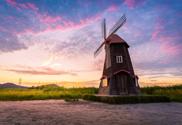 Sorae ecology wetland park, beautiful sunset and traditional windmills, incheon south korea